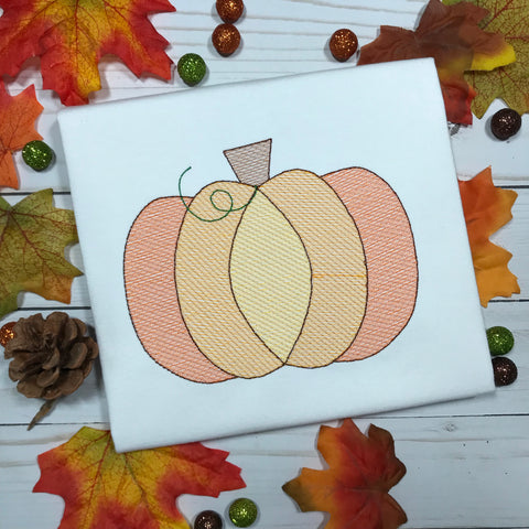 Pumpkin Sketch Embroidery Design - Hug A Bug Applique Designs