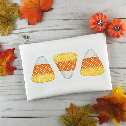 Candy Corn Trio Blanket Stitch Applique Design - Hug A Bug Applique Designs