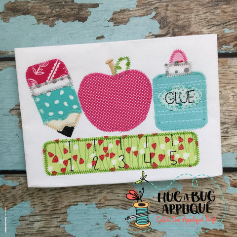 School Supplies Zig Zag Stitch Applique Design