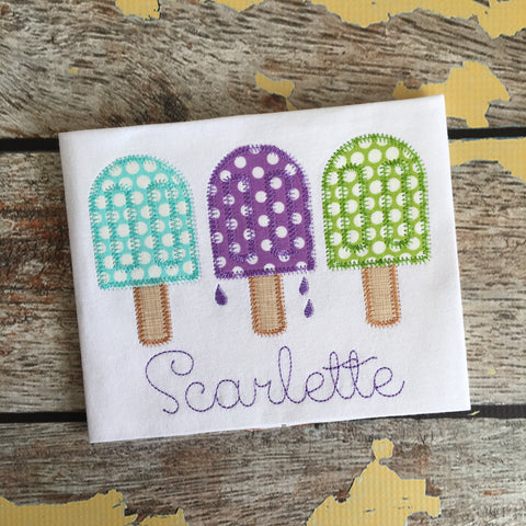 Popsicle Trio Zig Zag Stitch Applique Design