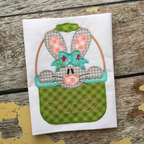 Bunny Girl Basket Zig Zag Stitch Applique Design