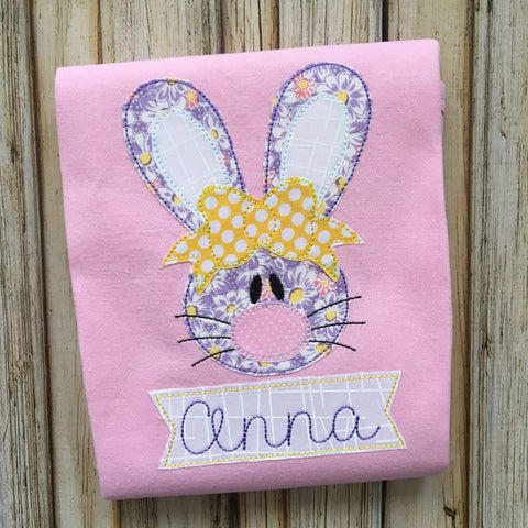 Rabbit Girl 2 Bean Stitch Applique Design