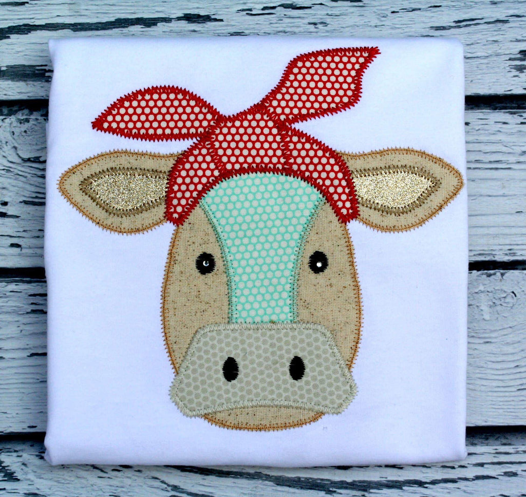 Cow Bandana Zig Zag Stitch Applique Design - Hug A Bug Applique Designs