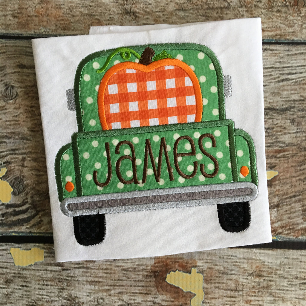 Truck Back Pumpkin Applique Design - Hug A Bug Applique Designs