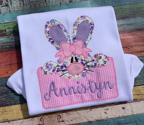 Bunny Girl Box Bean Stitch Applique Design