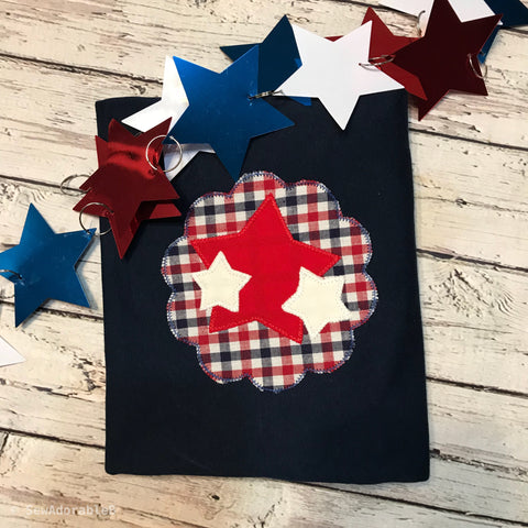 Stars Scallop Zig Zag Stitch Applique Design