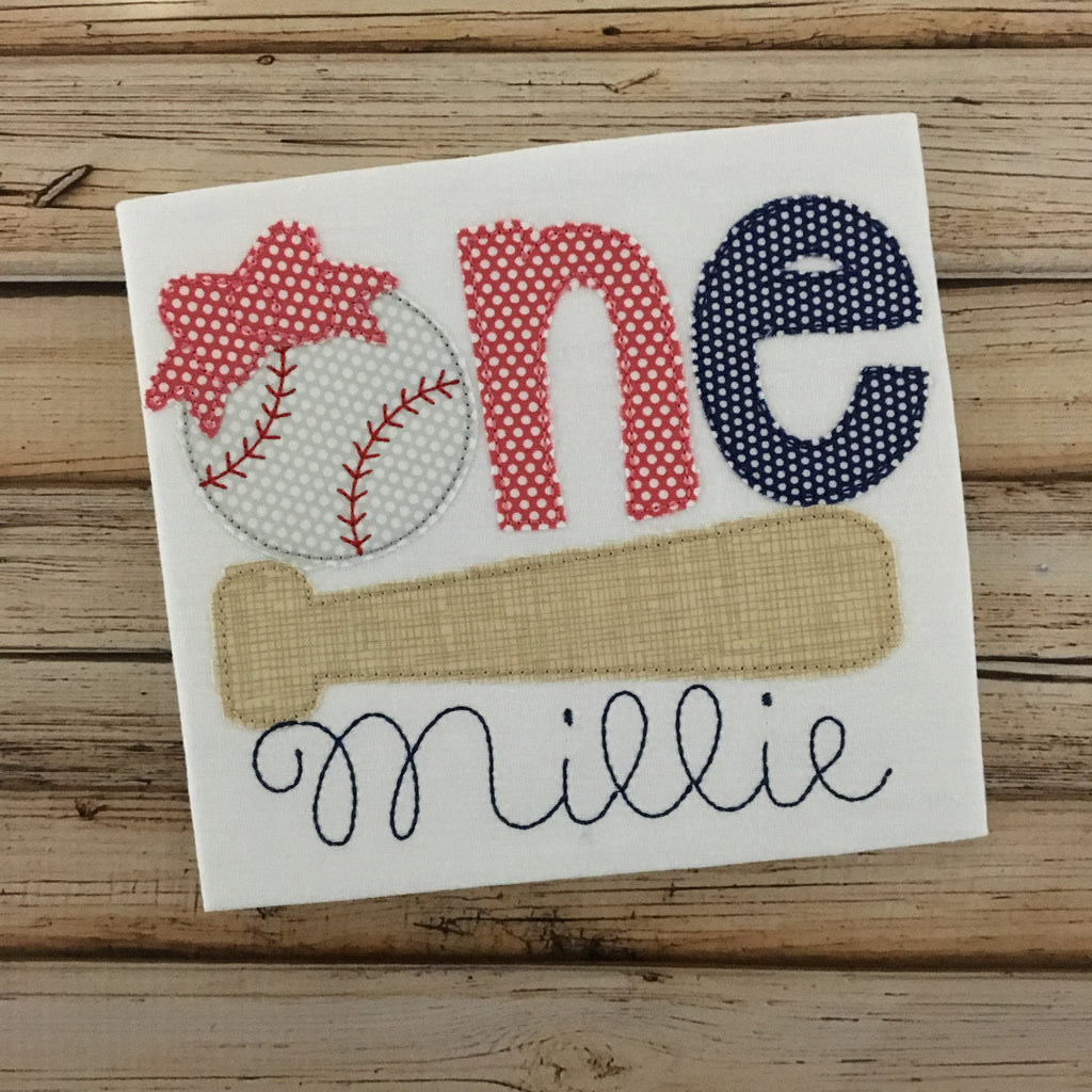 Baseball Bow Birthday One Bean Stitch Applique Design