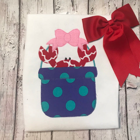 Crab Bow Bucket Bean Stitch Applique Design