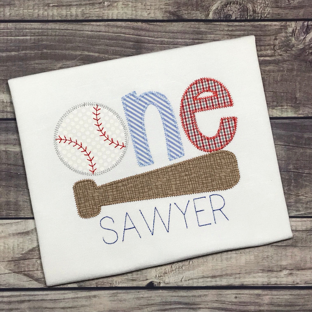 Baseball Birthday One Zig Zag Stitch Applique Design
