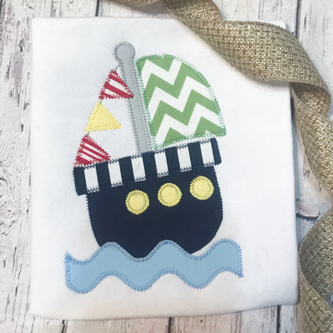 Boat Zig Zag Stitch Applique Design