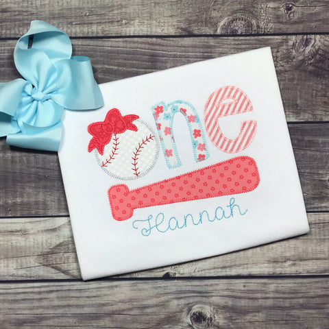 Baseball Bow Birthday One Zig Zag Stitch Applique Design