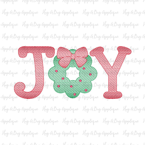 Joy Wreath Sketch Stitch Embroidery Design