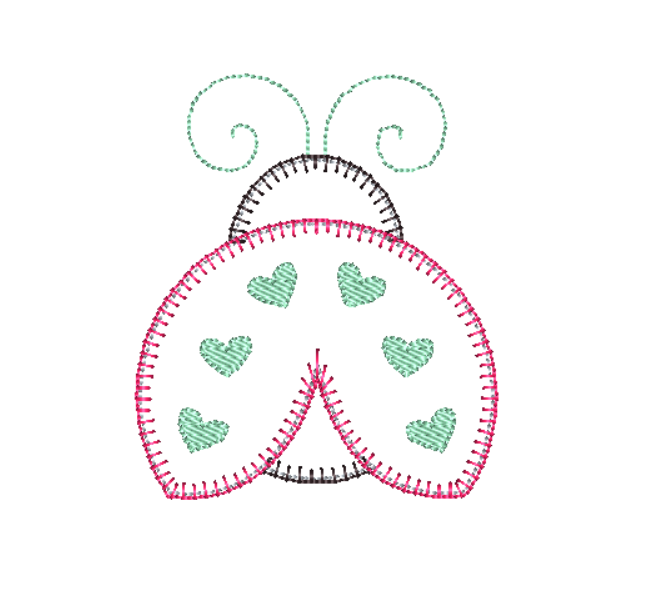 Ladybug Blanket Stitch Applique Design - Hug A Bug Applique Designs