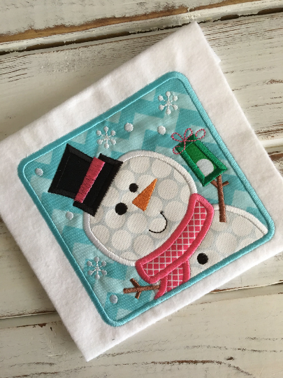 Snowman Box Applique Design - Hug A Bug Applique Designs