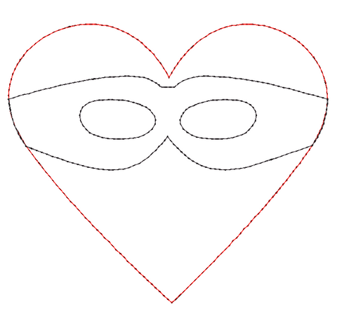 Heart Mask Bean Stitch Applique Design