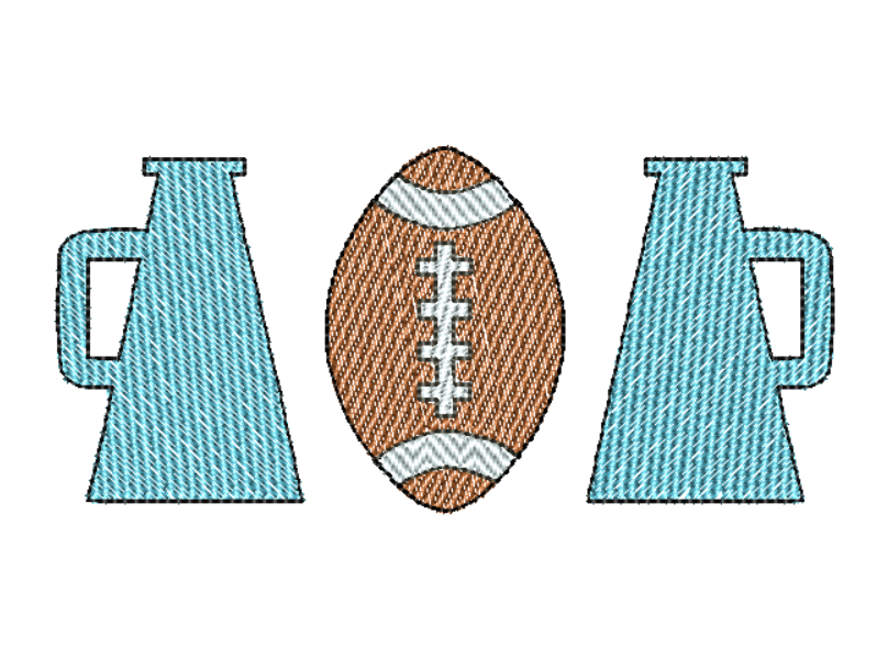 Megaphone Football Trio Sketch Embroidery Design - Hug A Bug Applique Designs