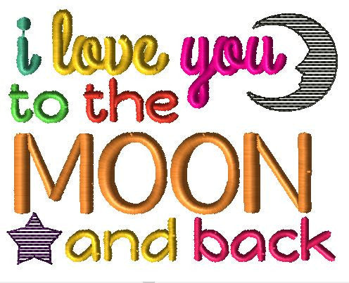 I Love You To the Moon and Back Embroidery Design - Hug A Bug Applique Designs