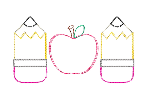 Pencil Apple Trio Scribble Embroidery Design