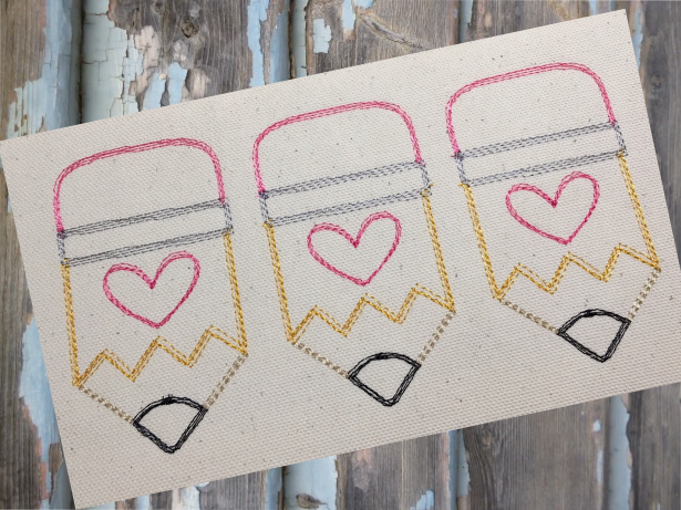 Pencil Heart Trio Sketch Embroidery Design - Hug A Bug Applique Designs