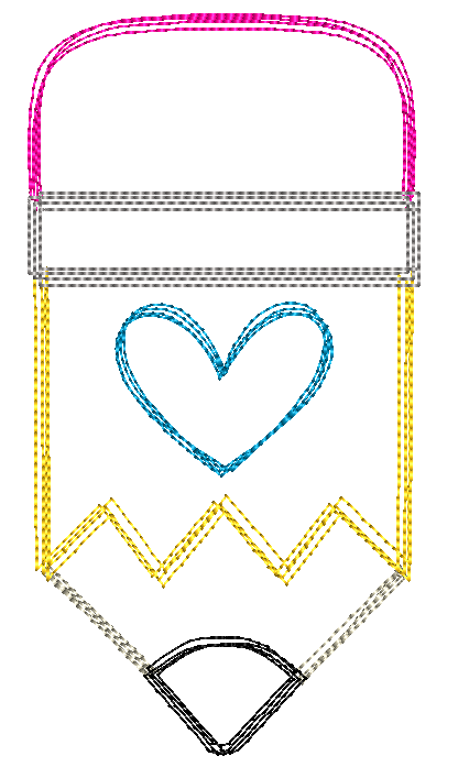 Pencil Heart Sketch Embroidery Design - Hug A Bug Applique Designs
