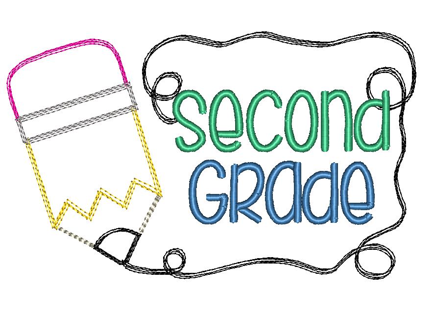 Pencil Second Grade Sketch Embroidery Design - Hug A Bug Applique Designs