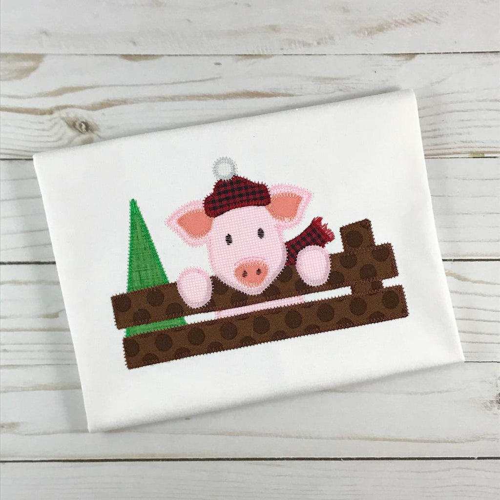 Christmas Pig Zig Zag Stitch Applique Design - Hug A Bug Applique Designs