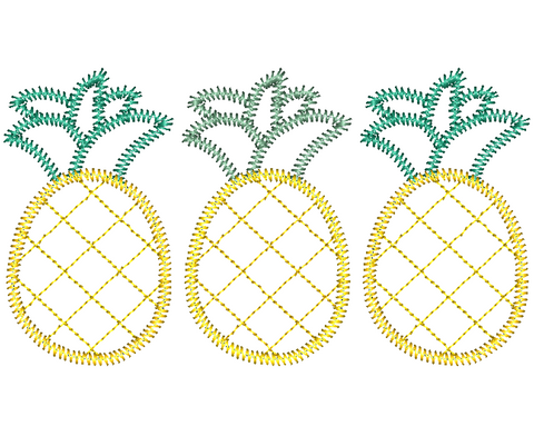 Pineapple Trio Zig Zag Stitch Applique Design
