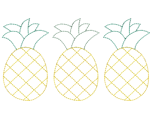 Pineapple Trio Bean Stitch Applique Design