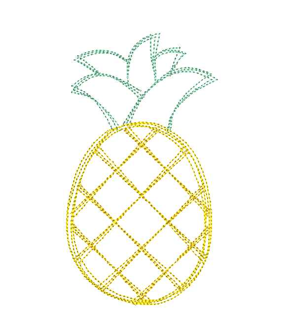 Pineapple Scribble Stitch Embroidery Design - Hug A Bug Applique Designs