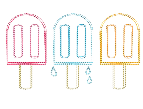 Popsicle Trio Scribble Embroidery Design