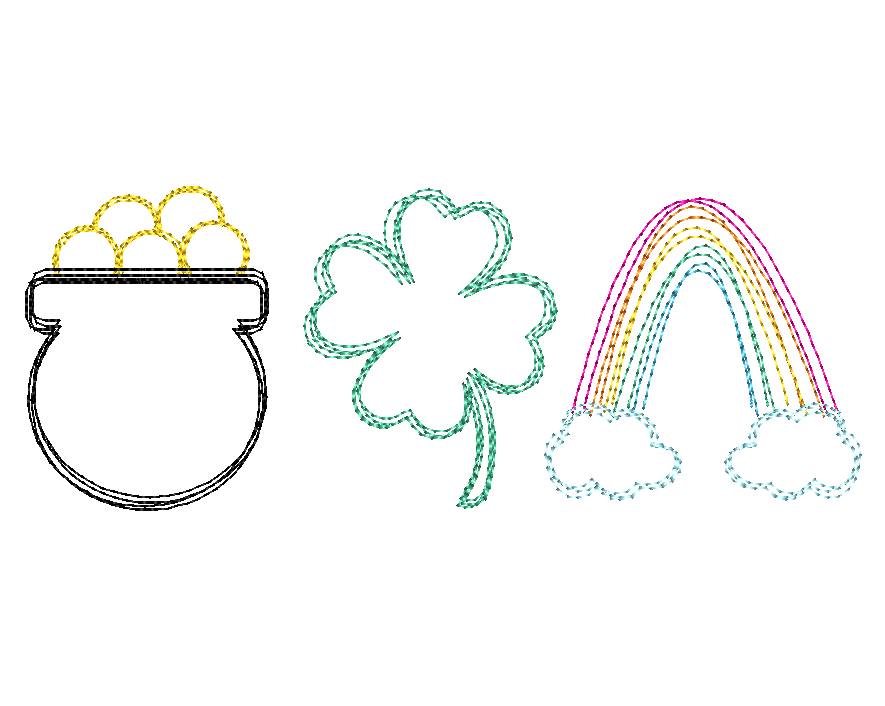 Pot Shamrock Rainbow Trio Scribble Sketch Embroidery Design