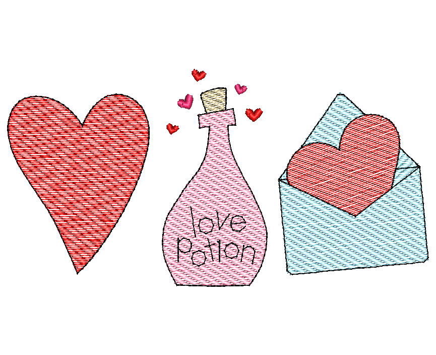 Heart Potion Letter Sketch Embroidery Design - Hug A Bug Applique Designs