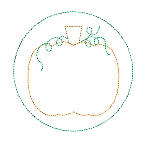 Pumpkin Circle Bean Stitch Applique Design