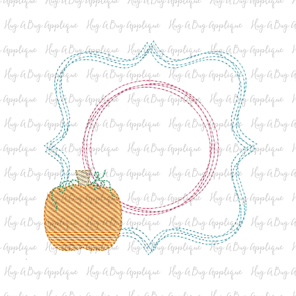 Pumpkin Sketch Scribble Frame Embroidery Design
