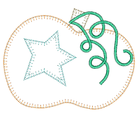 Pumpkin Star Blanket Stitch Applique Design