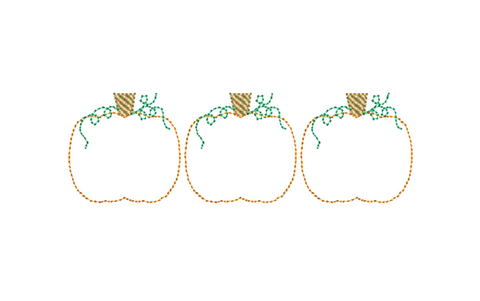 Pumpkin Trio Bean Stitch Applique Design - Hug A Bug Applique Designs