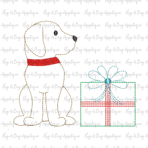 Pup Gift Bean Stitch Applique Design