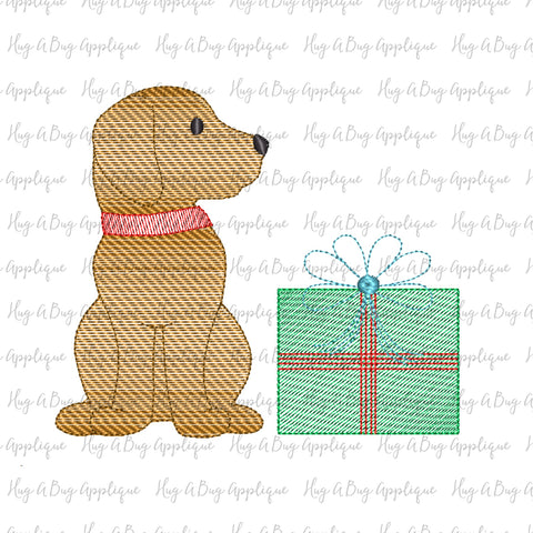 Pup Gift Sketch Stitch Embroidery Design