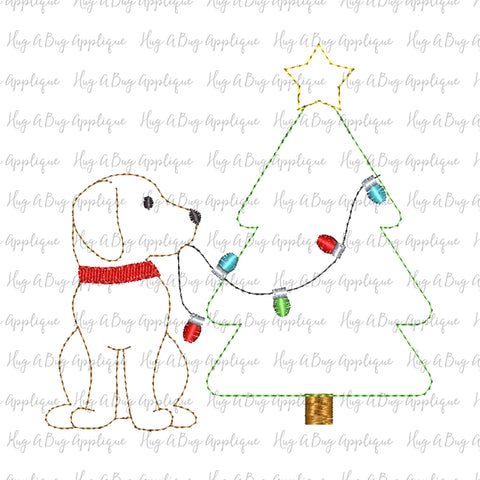 Pup Tree Lights Bean Stitch Applique Design