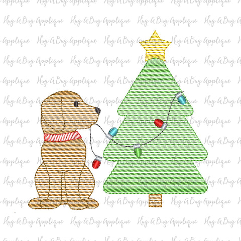 Pup Tree Lights Sketch Stitch Embroidery Design