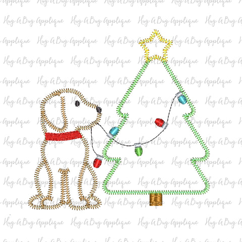 Pup Tree Lights Zig Zag Stitch Applique Design