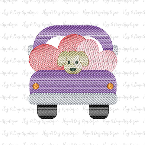 Truck Hearts Pup Sketch Stitch Embroidery Design