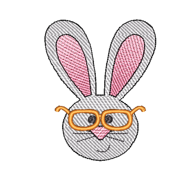 Rabbit Glasses Sketch Embroidery Design