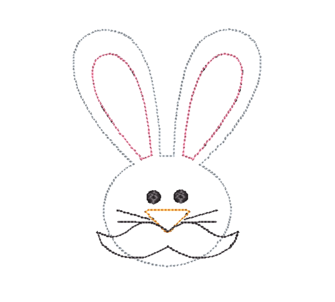 Rabbit Mustache Bean Stitch Applique Design