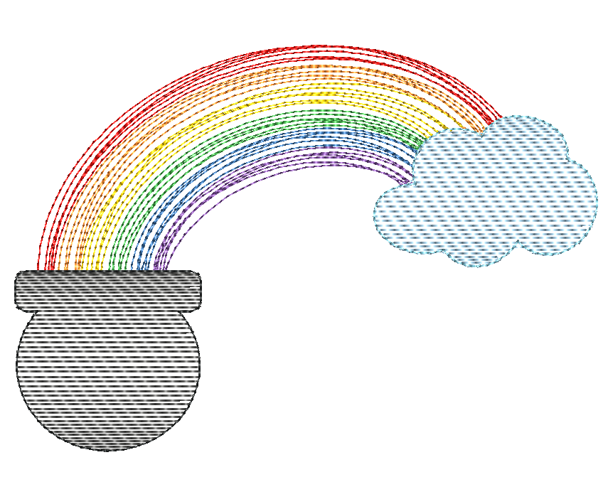 Rainbow Pot Scribble Sketch Embroidery Design