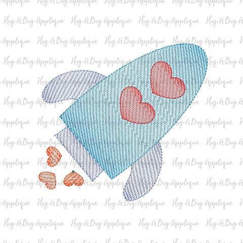 Rocket Hearts Sketch Stitch Embroidery Design