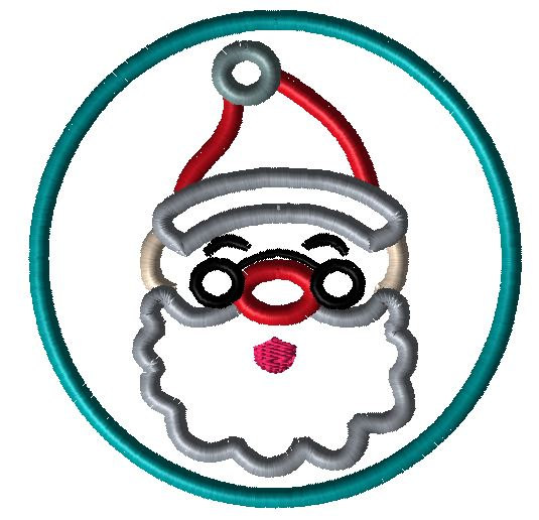 Santa Circle Applique Design - Hug A Bug Applique Designs