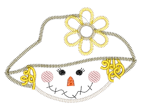 Scarecrow Girl Zig Zag Stitch Applique Design