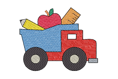 Dump Truck School Filled Sketch Embroidery Design