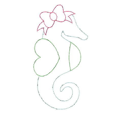 Seahorse Bow Bean Stitch Applique Design